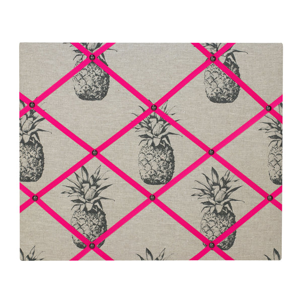 Pineapple Linen / Pink Ribbon Memo Board