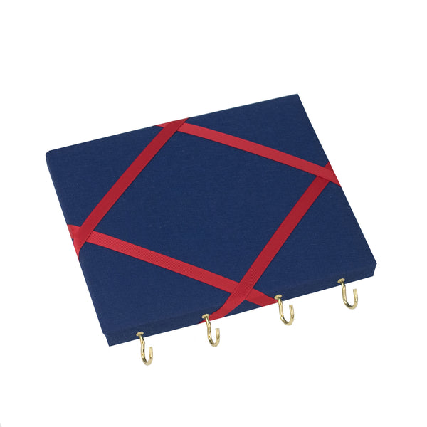 Navy Blue / Red Ribbon Jewellery Holder