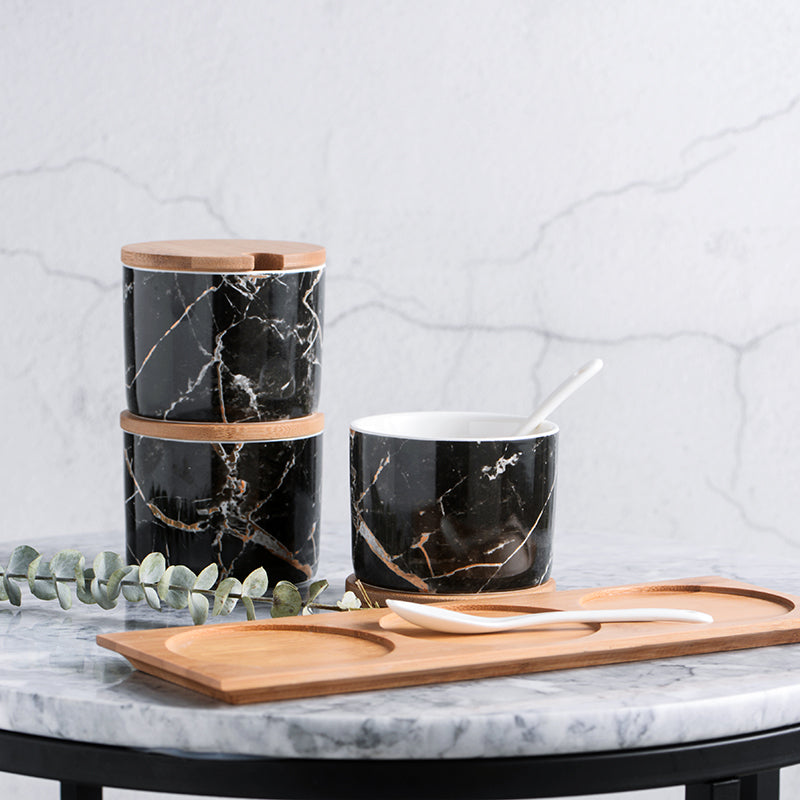 Marble Black 3pcs Set Pepper/Salt/Spice Jar