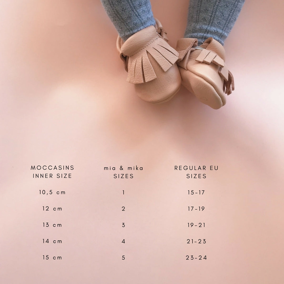 MIA AND MIKA MOCCASINS FROM VEGETABLE TANNED LEATHER SIZE CHART