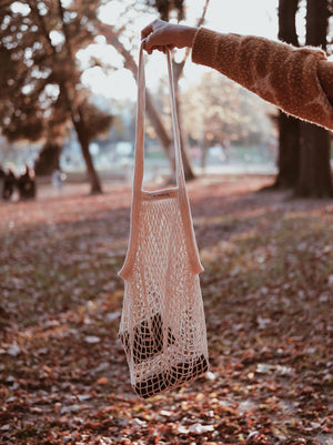 Granny's GOTS certified long handle string bag NATURAL