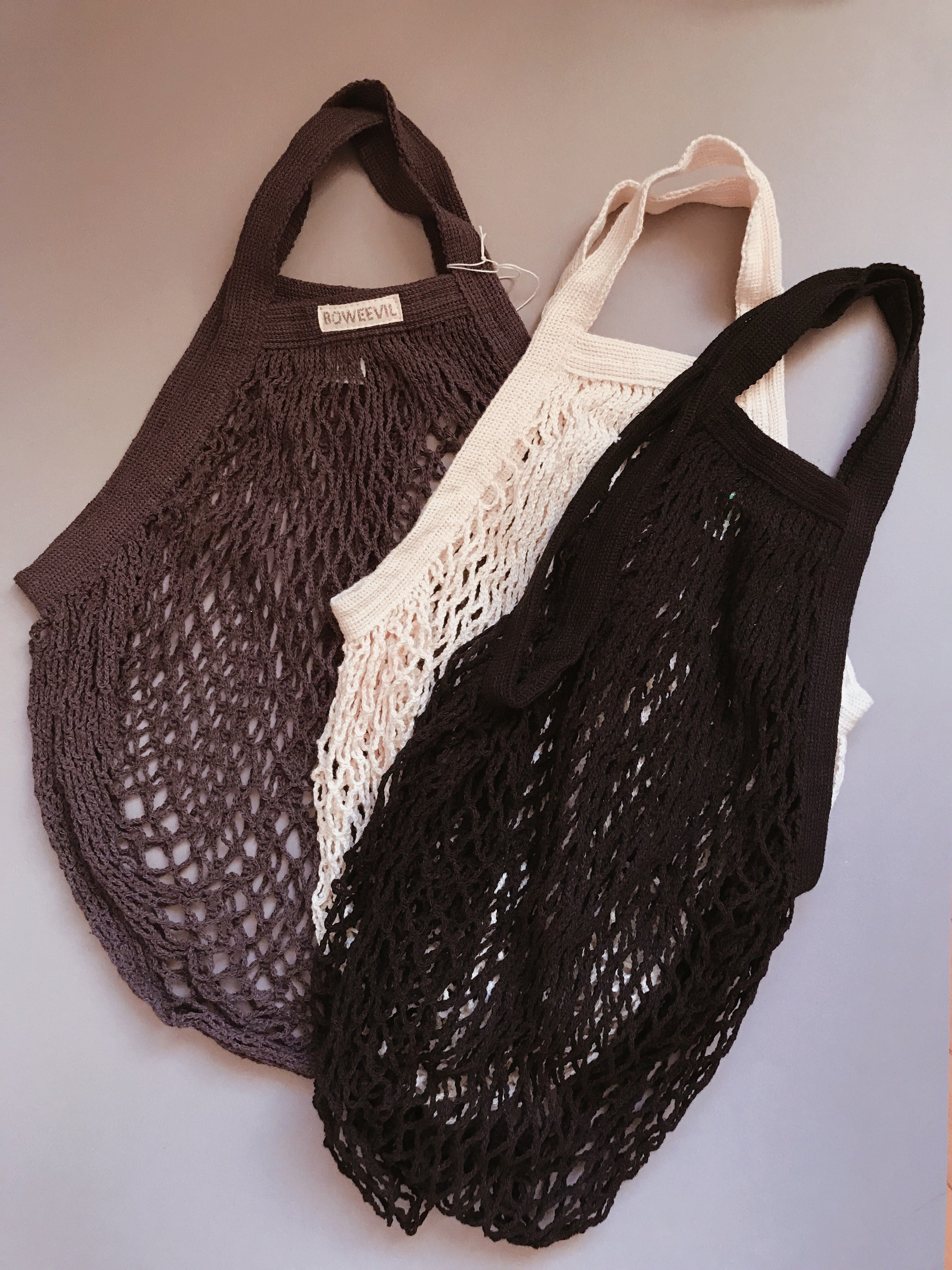 Granny's GOTS certified short handle string bag NATURAL