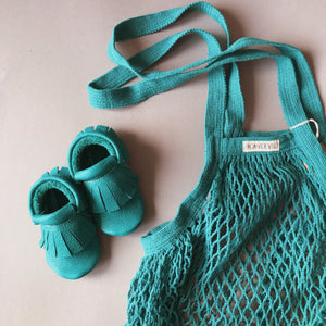 Granny's GOTS certified long handle string bag TURQUISE GREEN