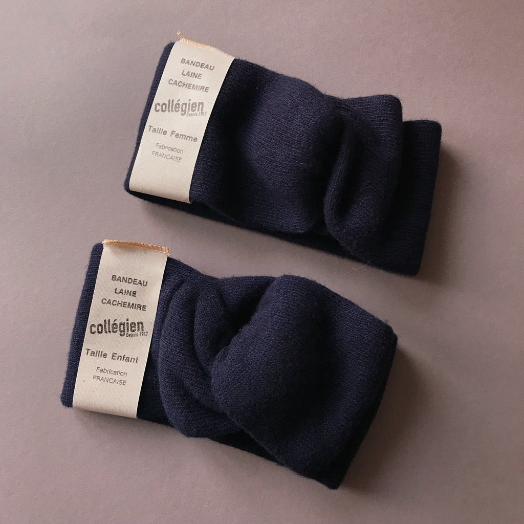 MUMMY AND ME WOOL AND CAHMERE HEADBANDS IN DARK BLUE