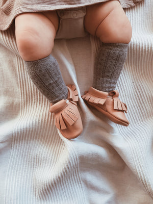SAND BABY MOCCASINS LIGHT BROWN