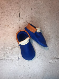 LEATHER SLIPPERS BLUE