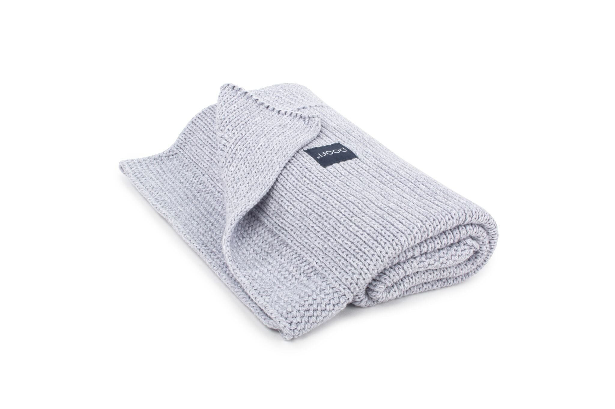 KNITTED ORGANIC COTTON BLANKET LIGHT GRAY