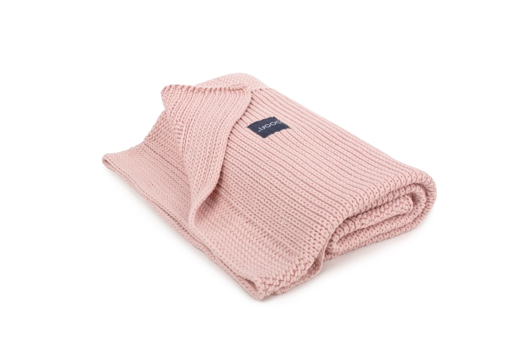 KNITTED ORGANIC COTTON BLANKET VINTAGE PINK