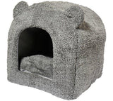 Grey Teddy Bear Cat Bed