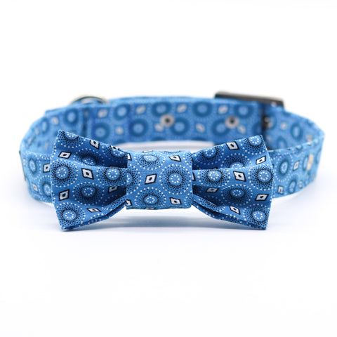 Shweshwe Blue Dots Collar with Bow Tie