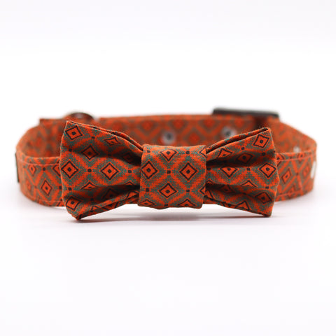Shweshwe Orange Square Collar with Bow Tie