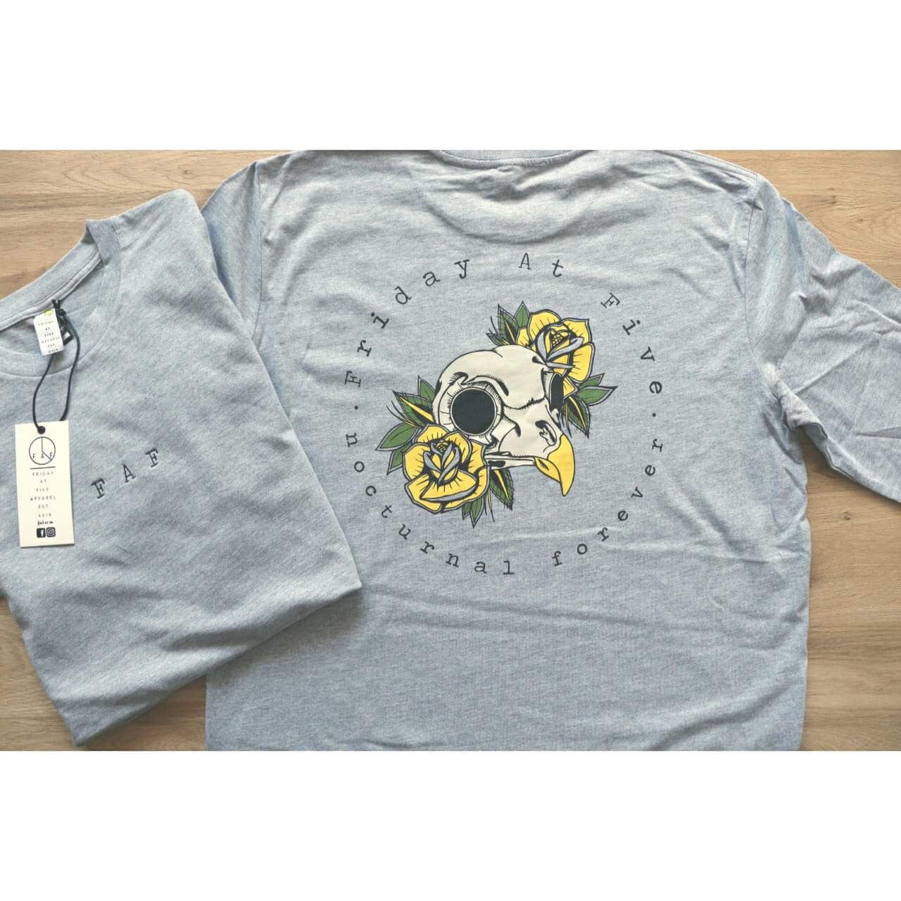 """Nocturnal Forever"" ( owl ) Grey long sleeve"