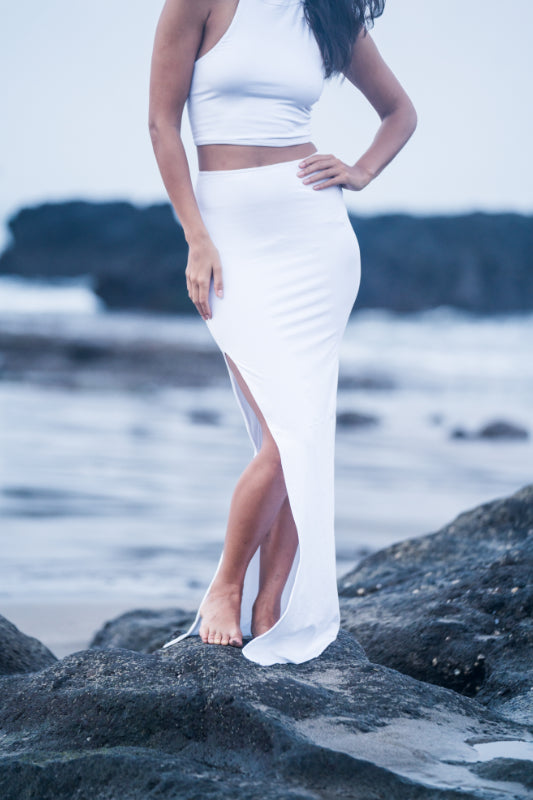 Long Pencil Skirt With Slit - Hanalei Swan Styles