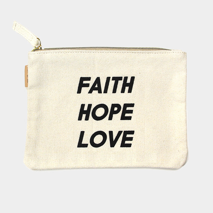 Canvas Schminktasche Eco - Faith Hope Love