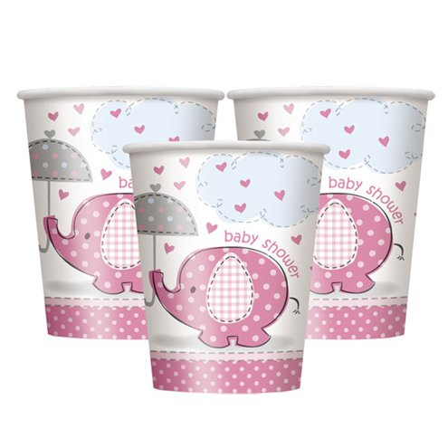 Einwegbecher Set 8-teilig - Babyshower Umbrellaphant - pink