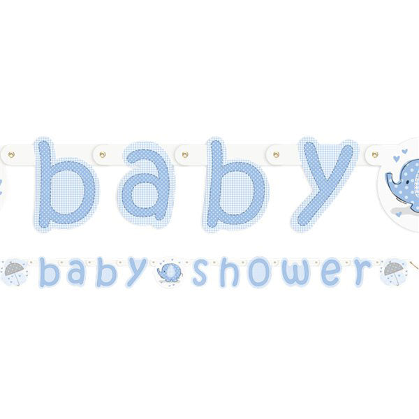 Banner Girlande -Baby Shower Umbrellaphant- hellblau - 2.2m
