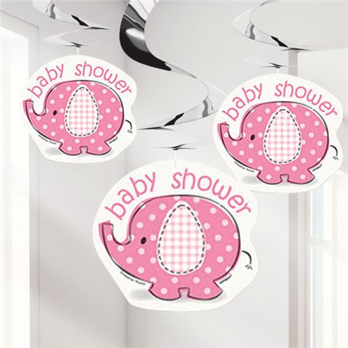 Decken Girlande - Baby Shower Umbrellaphant - pink
