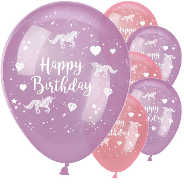 Ballon Set -Happy Birthday- Einhorn Lila 6-teilig im Perlenlook