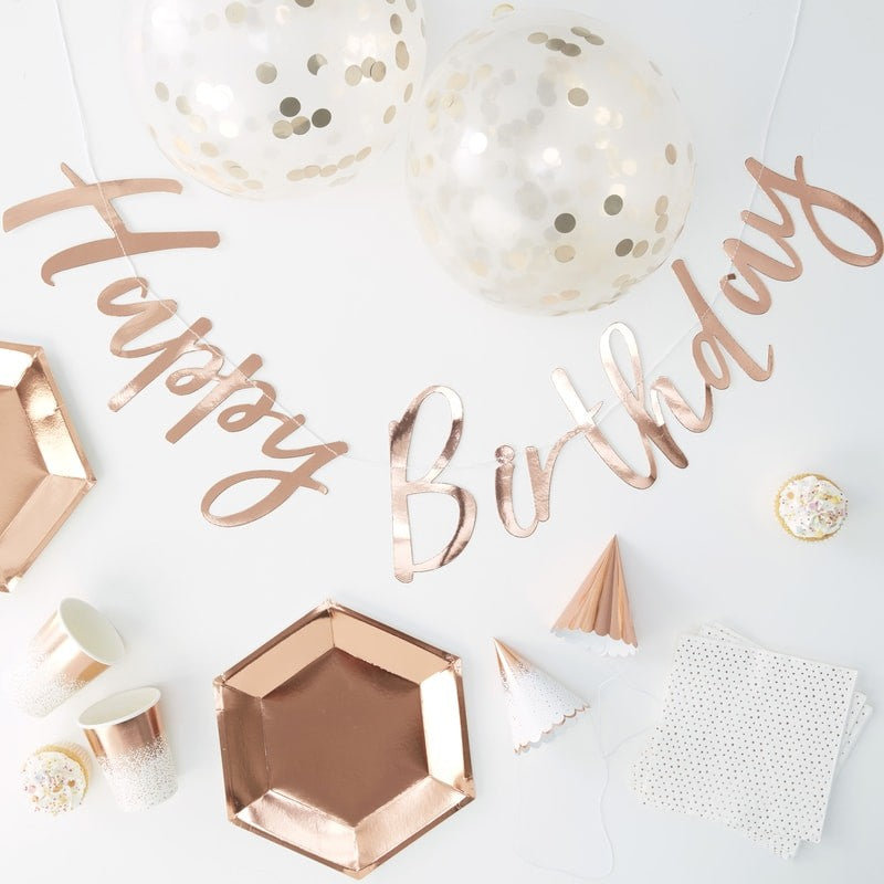 Partybox - Happy Birthday Rosegold - 70-teilig