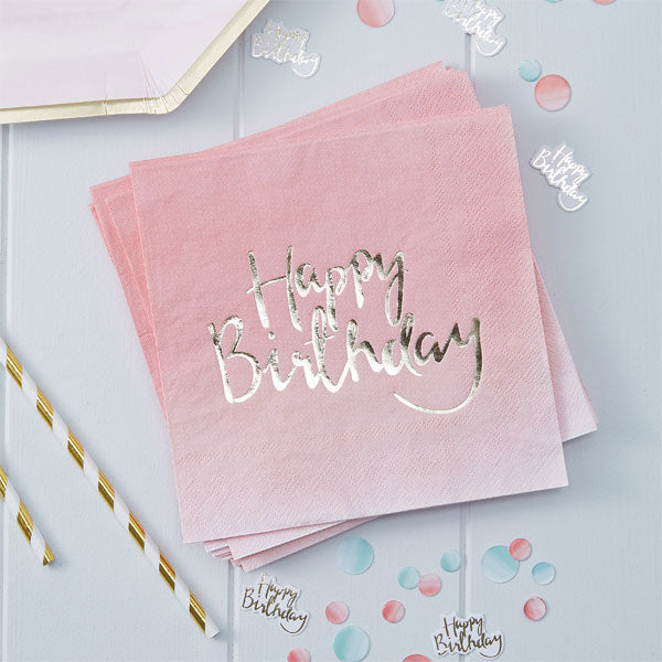 Papierservietten Set -Happy Birthday- Ombre Pink 20-teilig