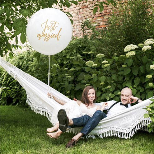 Riesen Ballon -Just Married- weiss/gold - 92cm
