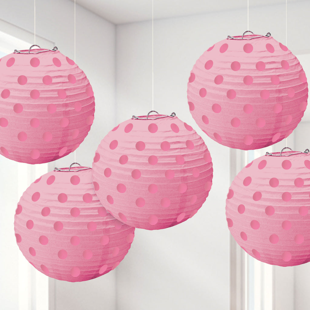 Lampion Set -Dots- Rosa 5-teilig