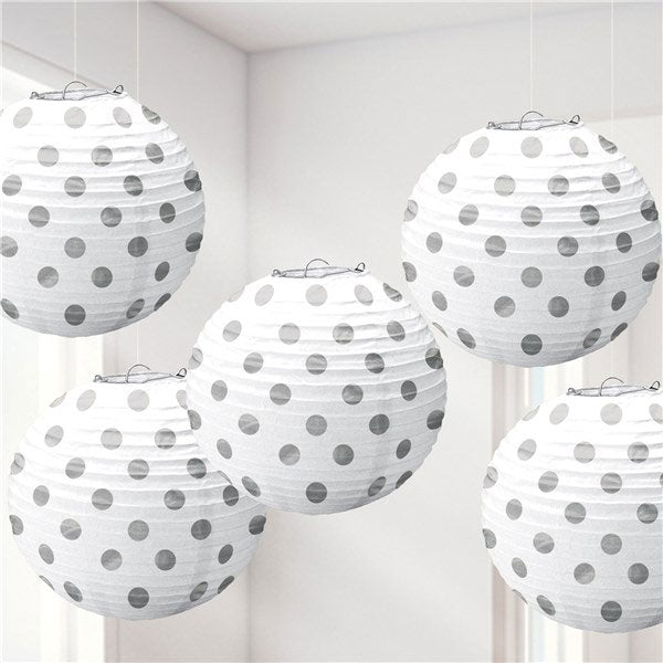 Lampion Set -Dots- Weiss 5-teilig