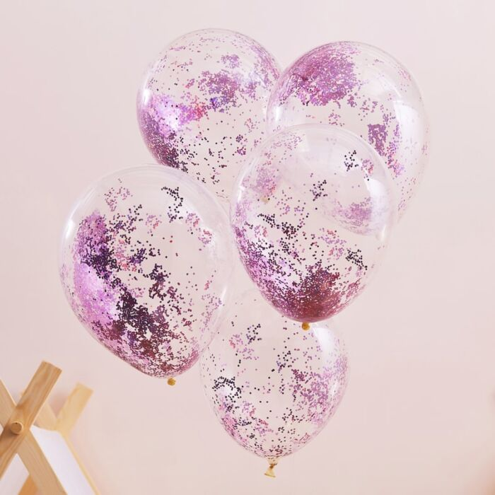 Pamper Party Konfetti Ballons - Pink Glitter - 5-teilig