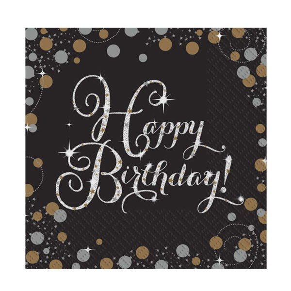 Papierservietten Set 16-teilig -Happy Birthday- Sparkling Celebration