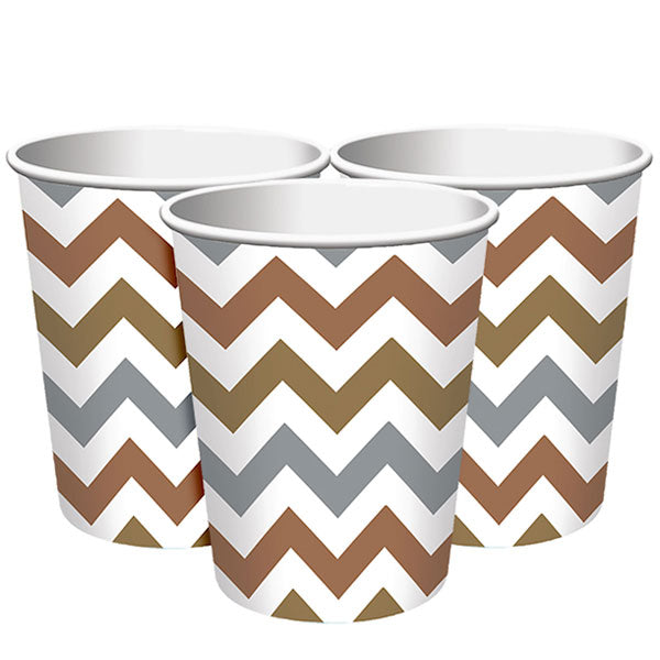 Einwegbecher Set -Chevron- 8-teilig metallic