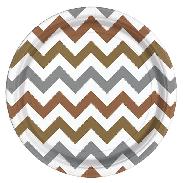 Einwegteller Set -Chevron- 8-teilig metallic