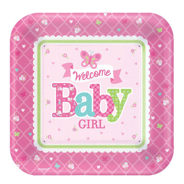 Einwegteller Set 8-teilig -Welcome Baby Girl- pink