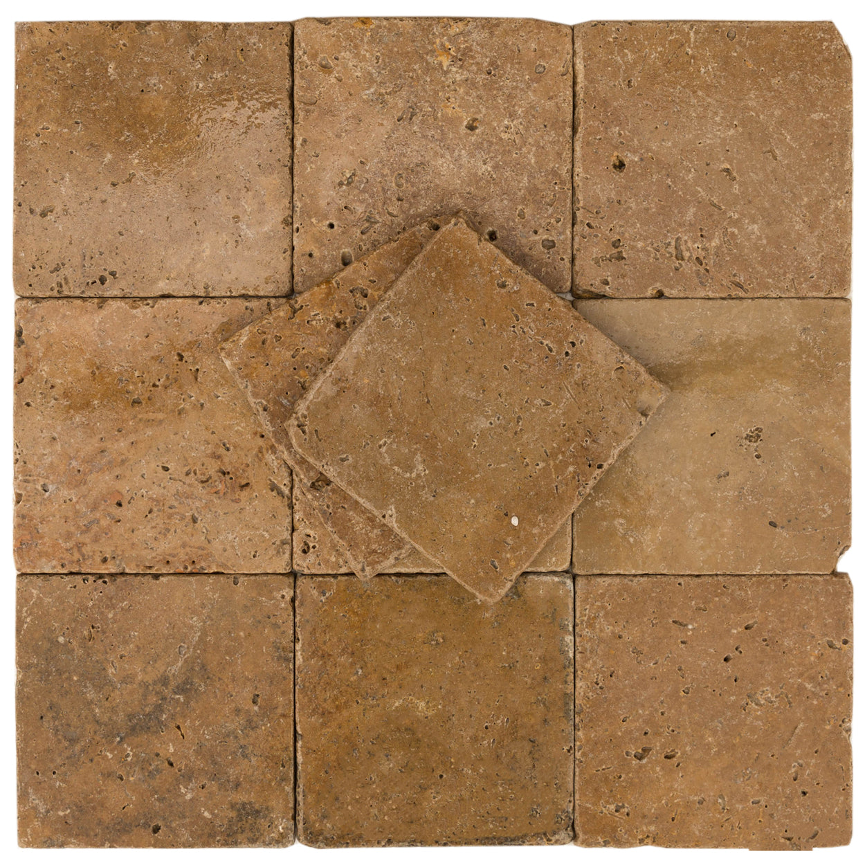 Buy Walnut Premium Light Brown Tumbled Travertine Tile 6x6 Online