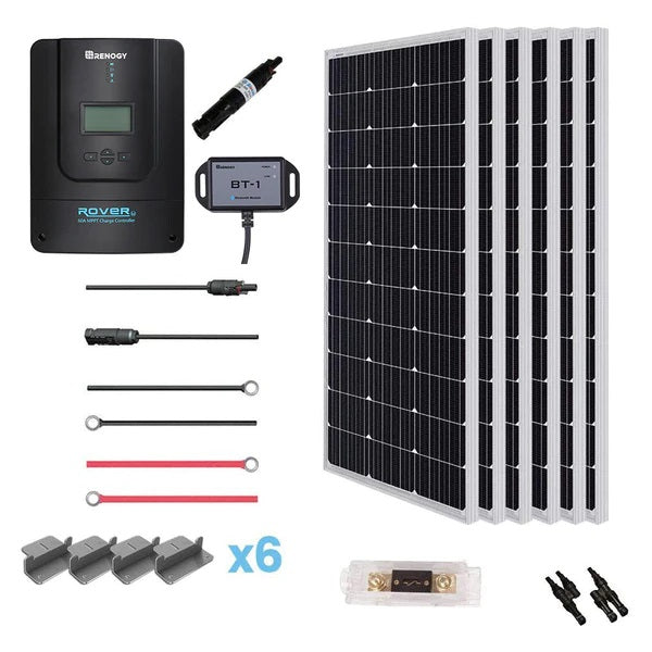 600W 12V Monocrystalline Solar Premium Kit w/Rover 60A Charger Controller