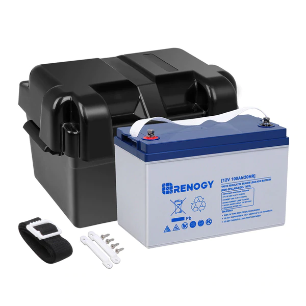 Renogy 12V 100Ah Deep Cycle Hybrid GEL Battery w/ Battery Box