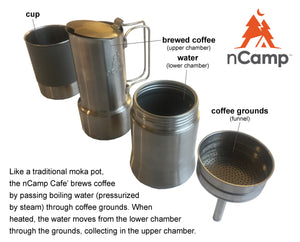nCamp Compact Espresso-Style Café/Coffee Maker For Camping Hiking Backpacking/Compact and Lightweight