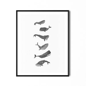 Whales Linocut Print Edition #2