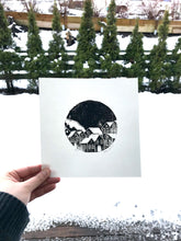 Snowy Bergen Handprinted Illustration