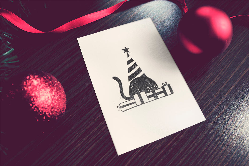 Handprinted Kitty Christmas Card
