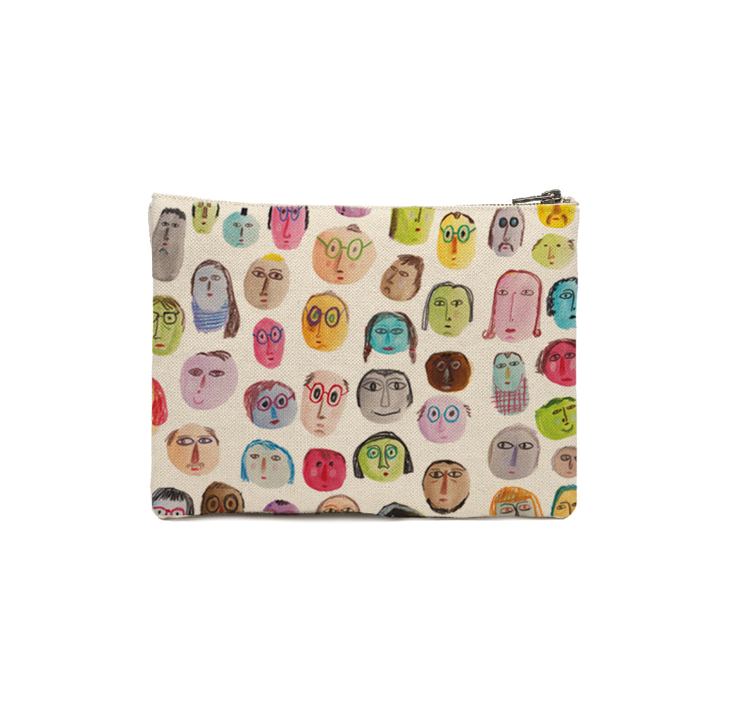 15x20cm Zipper Pouch - Faces, Trees, Cats