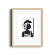 Cat Hat Lady Linocut Print