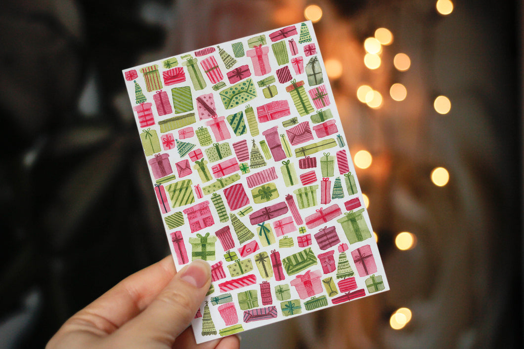 Christmas Gifts Pattern - Set Of 3 Mini Cards