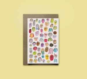People Pattern Greeting Card