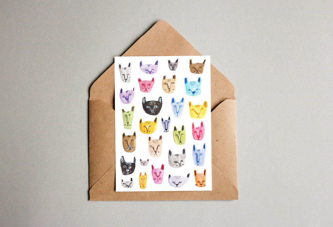 Cats Pattern Set Of Mini Cards