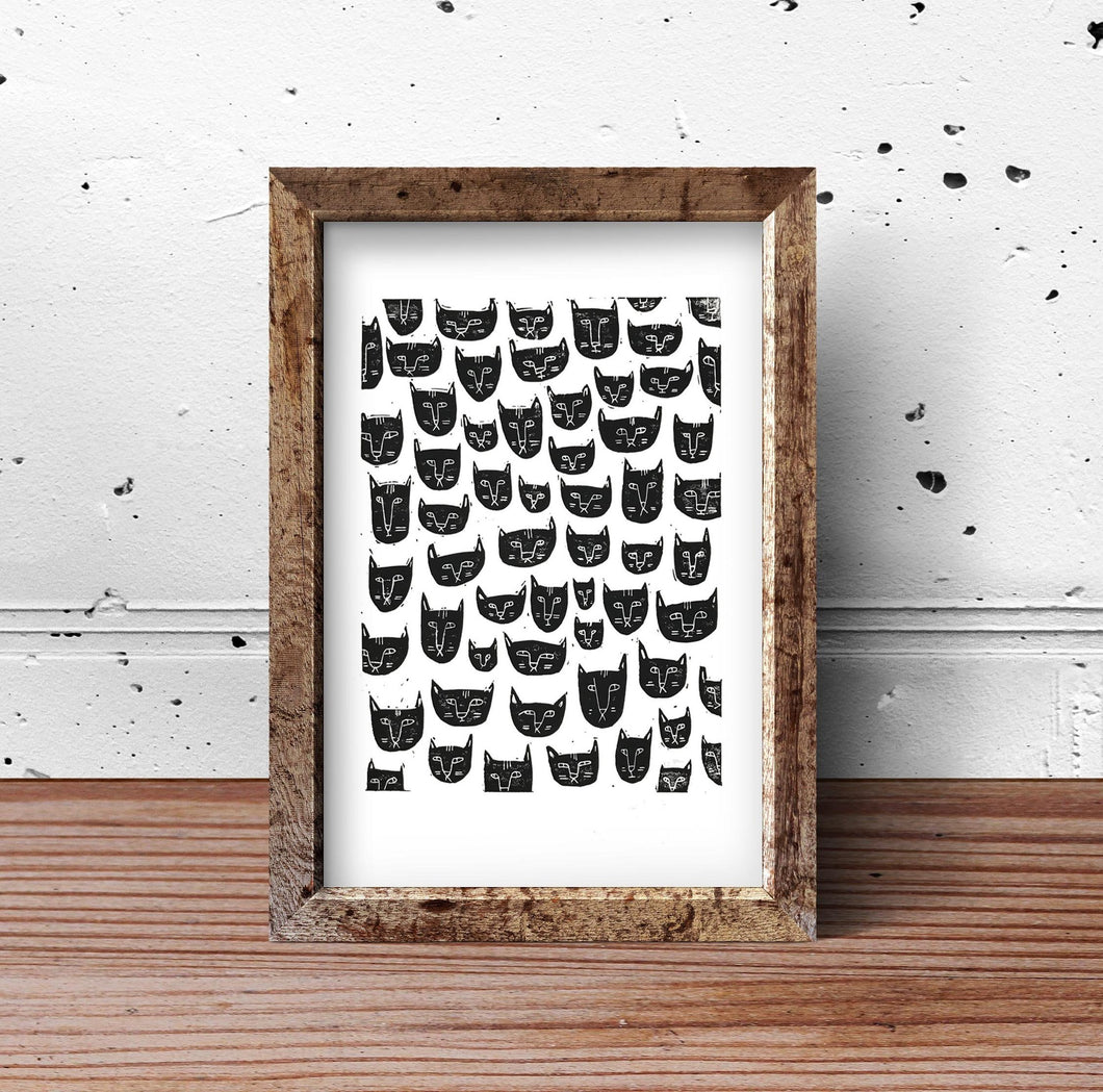 Cats Handprinted Pattern