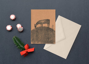 Reindeer Handprinted Card