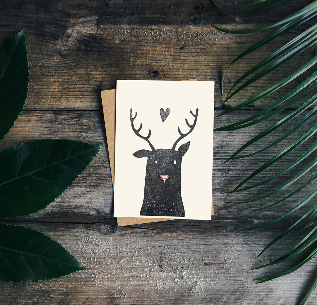 Rudolph Handprinted Card