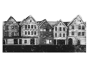 Bryggen Handprinted Illustration