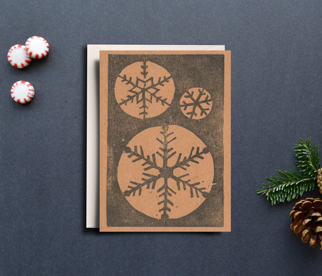 Snow Flakes Handprinted Card
