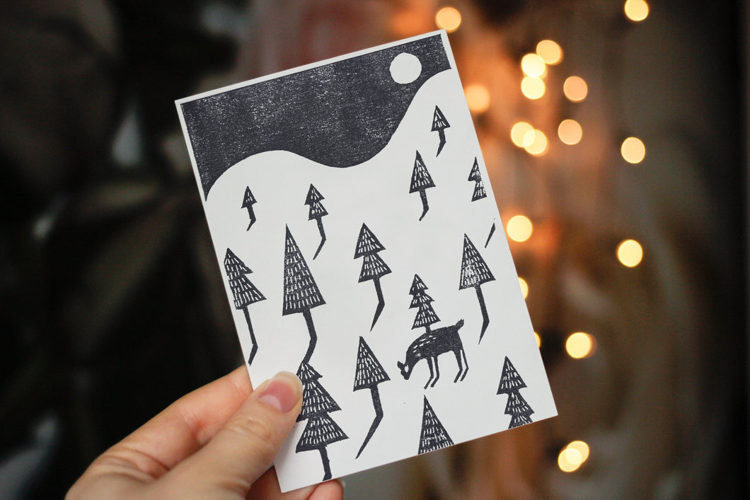 Handprinted Snowy Landscape Card